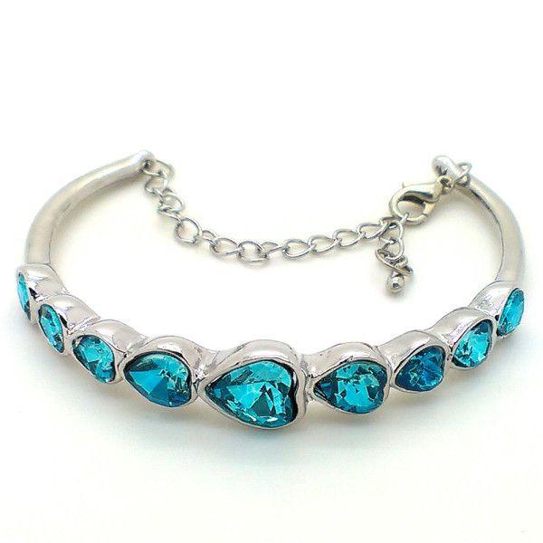 Beora Platinum Plated Sea Blue Crystal Fashion Bangle at Trendymela.com