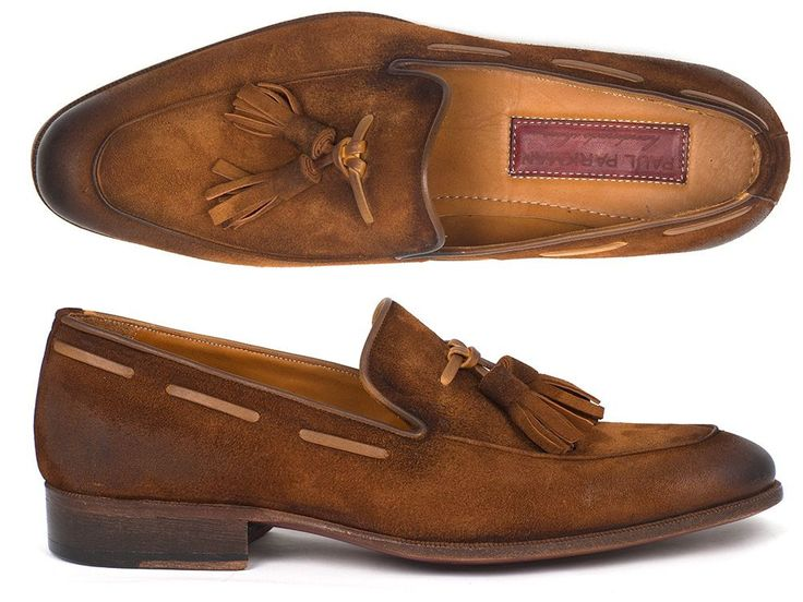 Tassel loafer slip-on style men's shoes. Antiqued brown suede upper with leather sole and camel leather lining.  This is a made-to-order product. Please allow