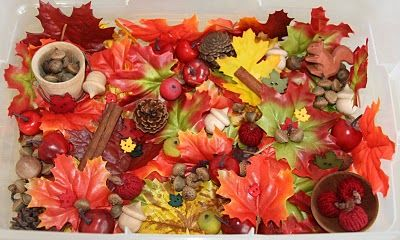 "A busy, busy autumn themed sensory bin! This one seems like it could keep kids exploring for ages! Please note that ""ages"" in preschool time means maybe 15 minutes or so, give or take."