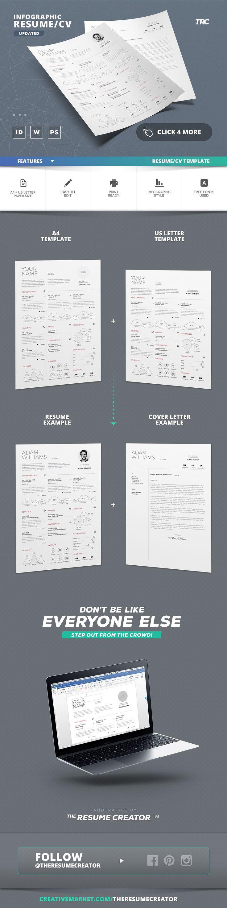 Infographic Resume/Cv Template Vol.4 by TheResumeCreator on @creativemarket @resumecreator