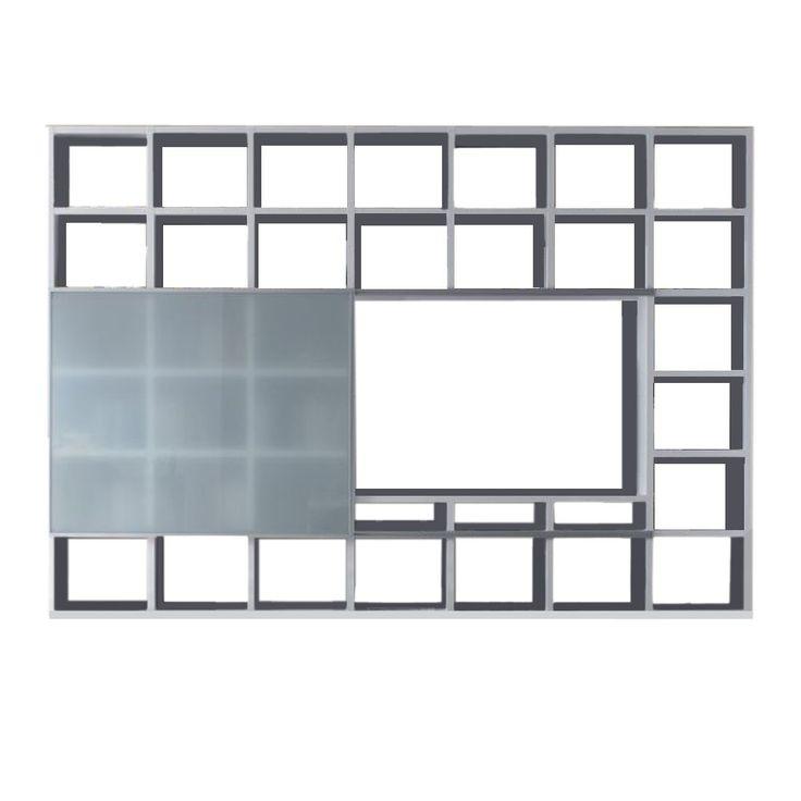 Wohnwand Empire - Weiß Hochglanz - Satinierte Glasschiebetür