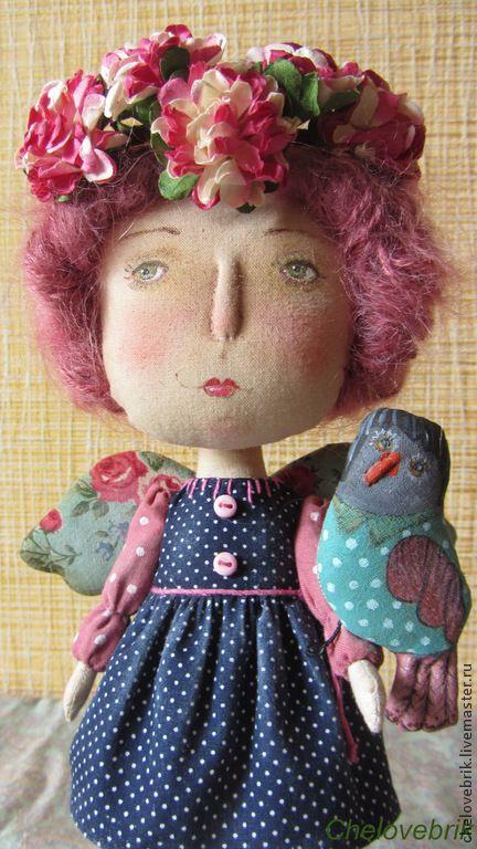 Купить Фанни с птичкой - темно-синий, ангел, текстильная кукла, текстильный ангел, весеннее настроение