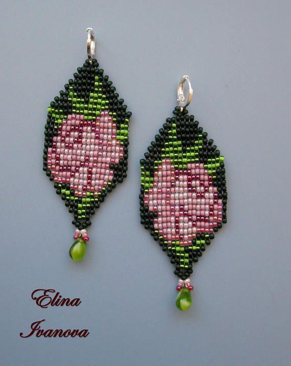 Картинки по запросу seed bead rose earrings