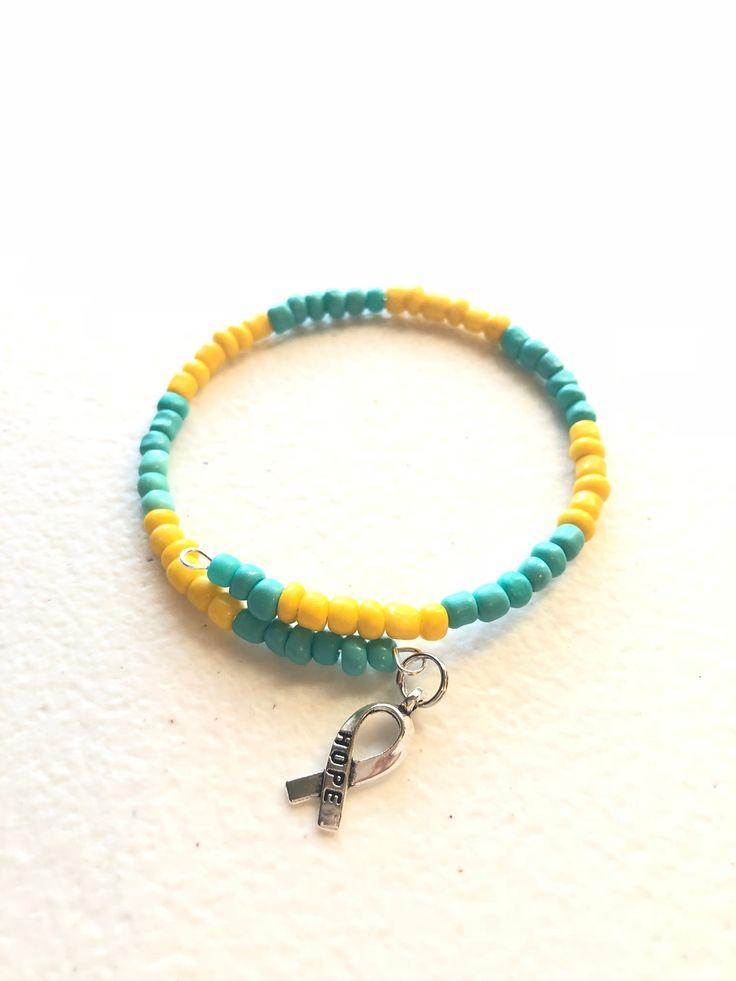 Ovarian Cancer Awareness Teal Ribbon Glass Bead Dangle Earrings Handmade