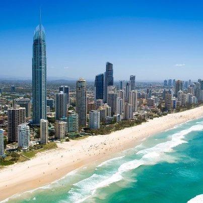 Big blue skies over Surfers Paradise, Queensland, Australia