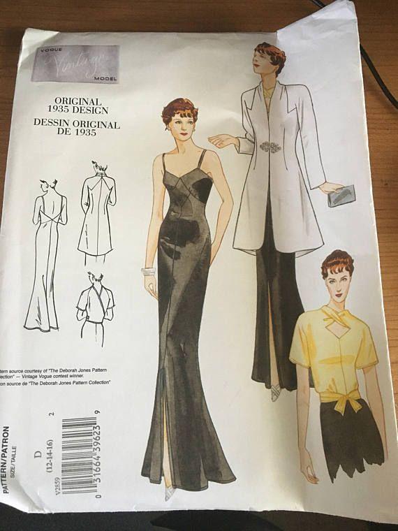Vogue Vintage 1935 Original Design Dress Pattern V2859 Sz 12