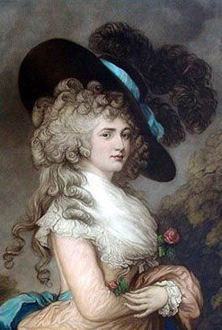▴ Artistic Accessories ▴ clothes, jewelry, hats in art - Thomas Gainsborough | Portrait of Georgiana, The Duchess of Devonshire, 1783 | Legend has it that this portrait was stolen by Adam Worth, and that he slept with it under his mattress for 20 years.