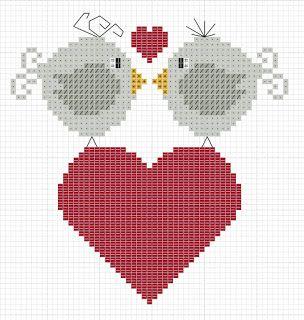 amour - love - oiseau - coerur -  point de croix - cross stitch - Blog : http://broderiemimie44.canalblog.com/