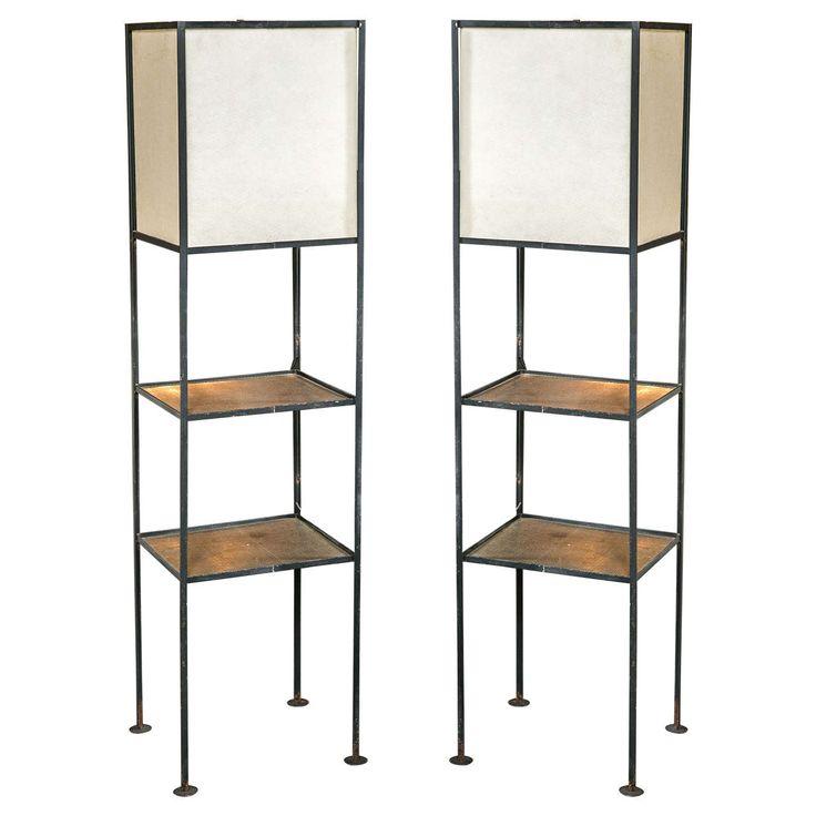 pair of midcentury modern floor lamps
