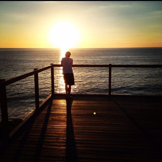 My dad. Took this photo months ago when we got fish and chips, ate them at beach and stayed for sunset  and saw dolphins. Love this photo