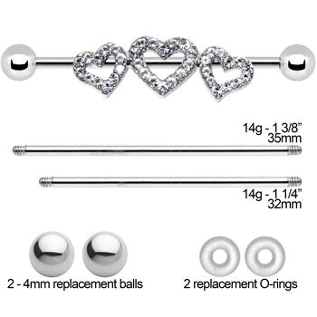 Triple heart industrial barbell set comes with three different length barbells and extra replacement pieces. Gem industrial project bar set featuring interchangeable heart trio charm. Barbells are 32mm, 35mm, and 38mm lengths. Sold as a set.
