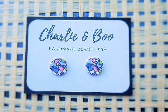 Stainless Steel 12mm Printed Wood Stud Earrings Abstract Stud Earrings Australian Handmade Small Business Charlie and Boo