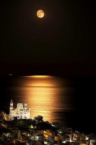 πανσέληνος στη Σύρο- full moon in Syros island, Greece
