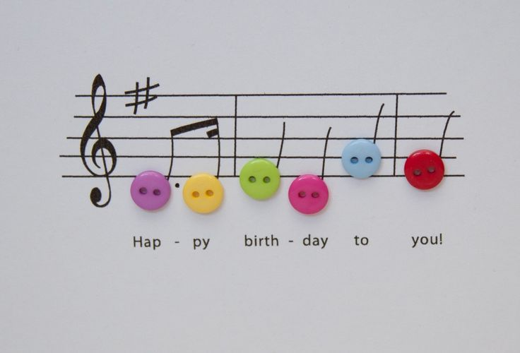 Happy Birthday Music Card  Birthday Card with Button by Nikelcards, £2.70