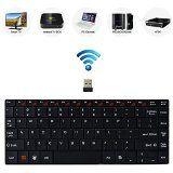 Bestdeal® Hoch Qualität Aluminium Körper Ultra Dünn Mini Kompakt Wireless QWERTY Tastatur mit Multimedia Hot Keys für Smart TV Thomson 40FB5406 & 50UA6406W & 40FA5405