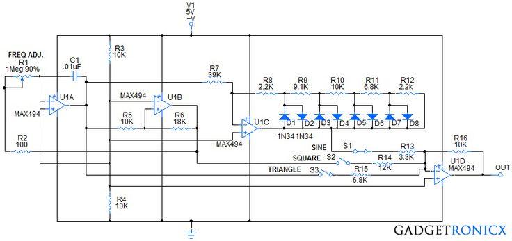 Multiple Waveform Generator Circuit Diagram Schematic