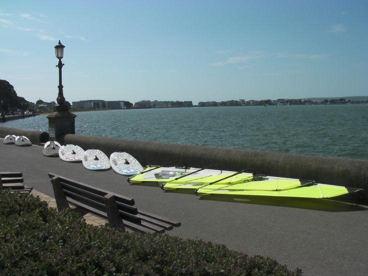Rigged and ready for a beginners windsurf lesson.  Goya Surf sails, RRD Easyride 180lt & Goya Surf 202lt boards.  #windsurfingequipment #rrdwindsurfing #goyawindsurfing #poolewindsurfing