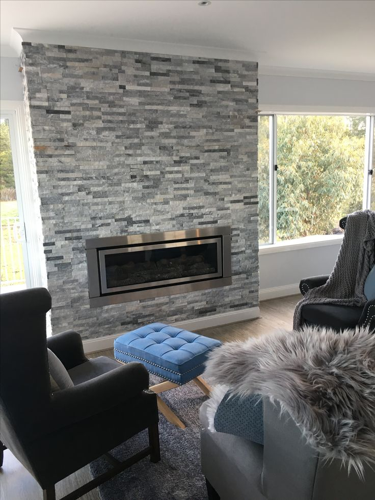 DIY Grey stone fireplace in our hamptons style beach house.