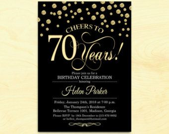 70th Birthday Invitation Any Age Cheers To 70 Years Black Gold White Diamonds Printable Customized