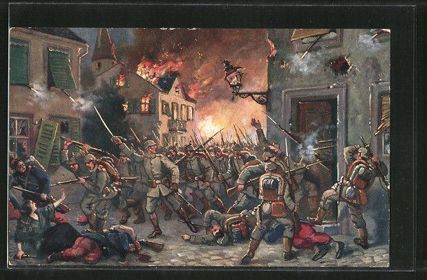 cartolina antiche: Künstler-AK Strassenkampf in Mülhausen, 9. Aug. 1914
