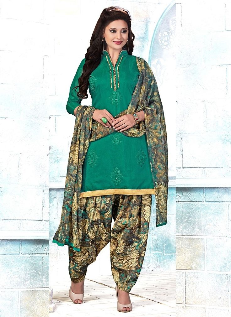 Shop Online Green Chanderi #PatialaSuits @Chennaistore.com