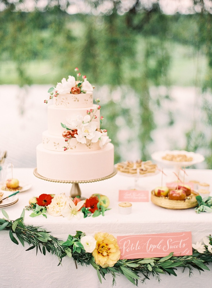 cake table, desserts + garland; via Southern Weddings Magazine // Lael Cakes, Poppies & Posies (florals), Jen Huang Photography