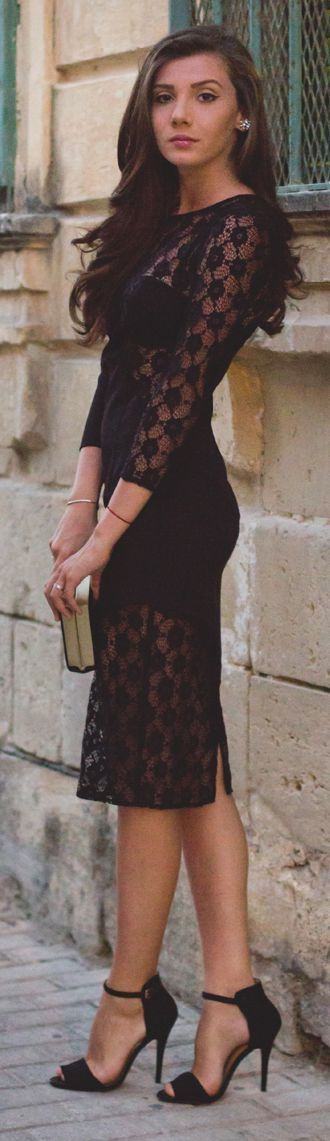 Miss Grey Black Lace Sheer Sheath Midi Dress
