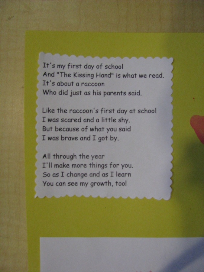 The Kissing Hand poemKisses Hands, Srcs Kindergarten, Teaching Ideas, Kindergarten News, Hands Poems, Kindergarten Ideas, Through, Classroom Ideas, Schools Years
