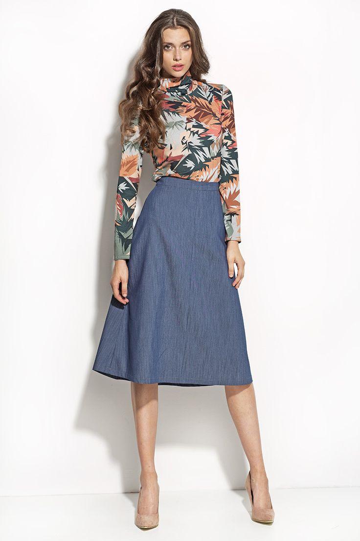 """Spódnica  Angelina w odcieniu jeans. Kształt litery """"A"""" podkreśla kobiecą sylwetkę ➞ Nife w sklepie Olive.pl #spódnica #nife #figl #moda #fashion #shop #koszula #sukienka #jeans #A #kobieta #olive"""