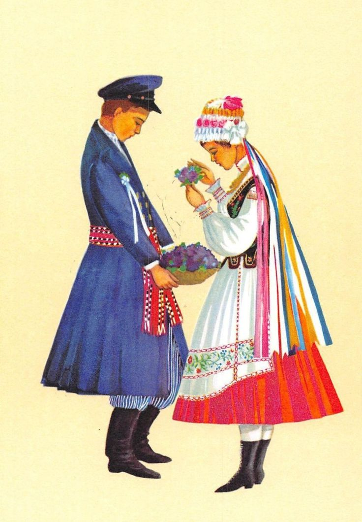 Traditional flower crowns from Poland. Region of Piotrków. Postcard with illustration by Irena Czarnecka.