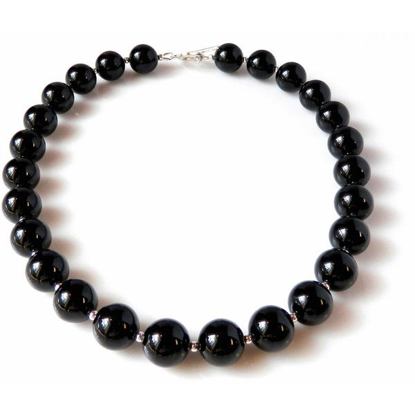 Luscious Black Onyx Necklace Dramatic Statement Black Necklace... ($189) ❤ liked on Polyvore featuring jewelry and necklaces