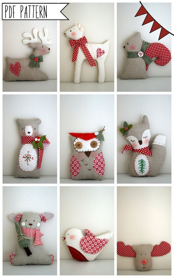 PDF pattern-9- Christmas tree ornament decorations-sewing easy pattern-reindeer-owl-fawn-bear-fox-robin-squirrel- special price