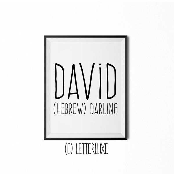 David Name Meaning Print Printable Nursery Art Baby Name