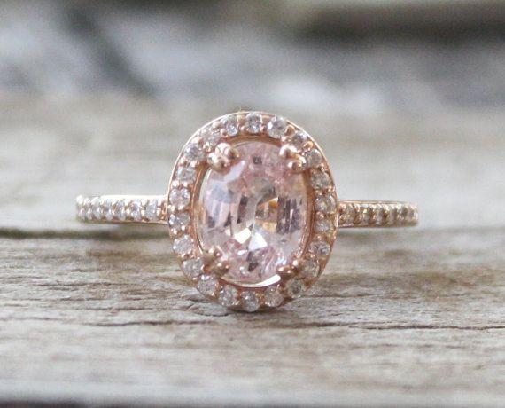 ON HOLD 1.70 Cts. Peach Pink Sapphire Diamond Halo di Studio1040