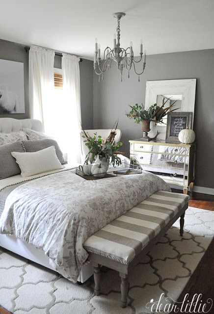 stunning fall bedroom in gray and neutrals with natural accepts