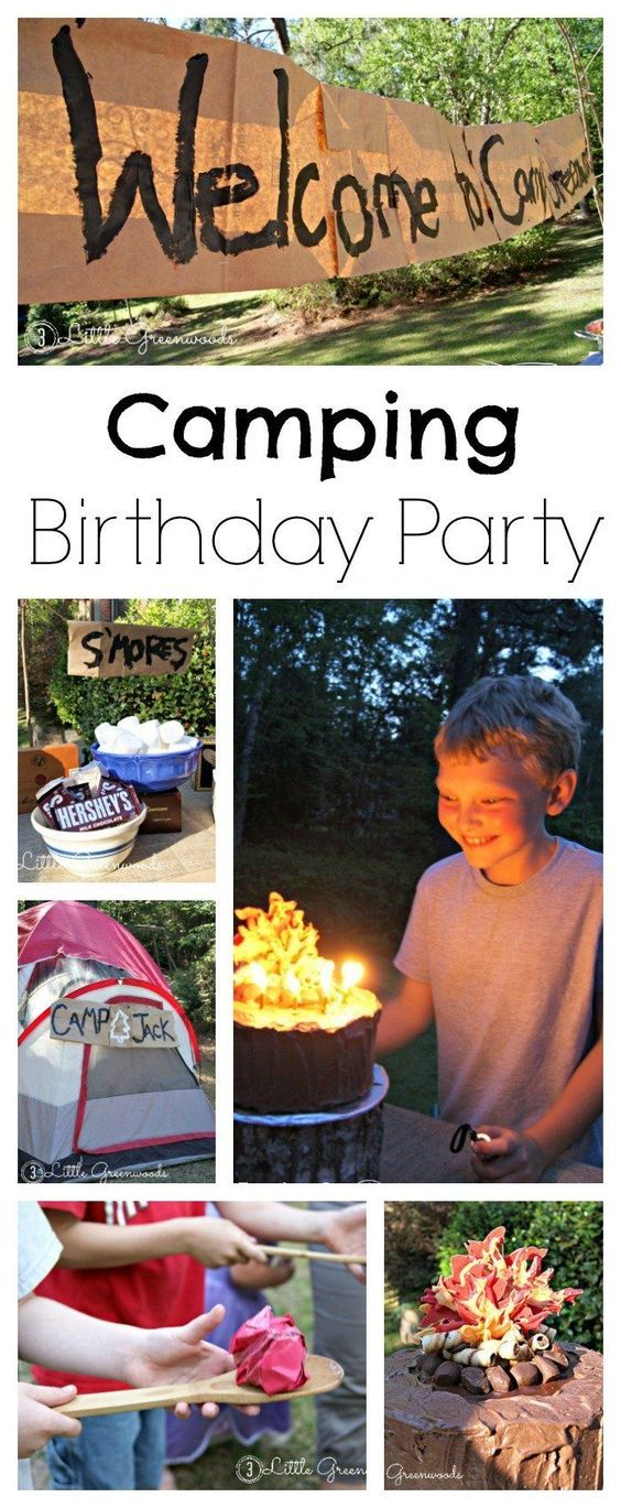 Perfect birthday party for boys! Celebrate your favorite camper with a Camping Birthday Party! This post includes fun camping birthday party ideas, inexpensive decorations, backyard camping party games, and two campfire cake instructions.