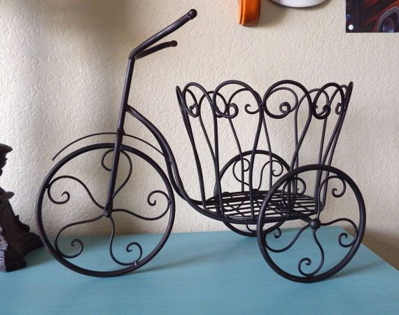 Shabby Chic Wrought Iron Bicycle Plant Stand by ForgetMeNotsCottage, $42.50