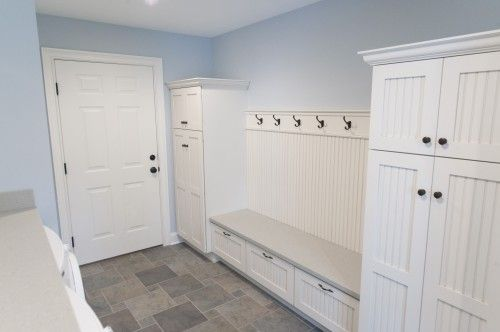 Like the blue, white, and grey combination especially with the storage, bench, and hooks