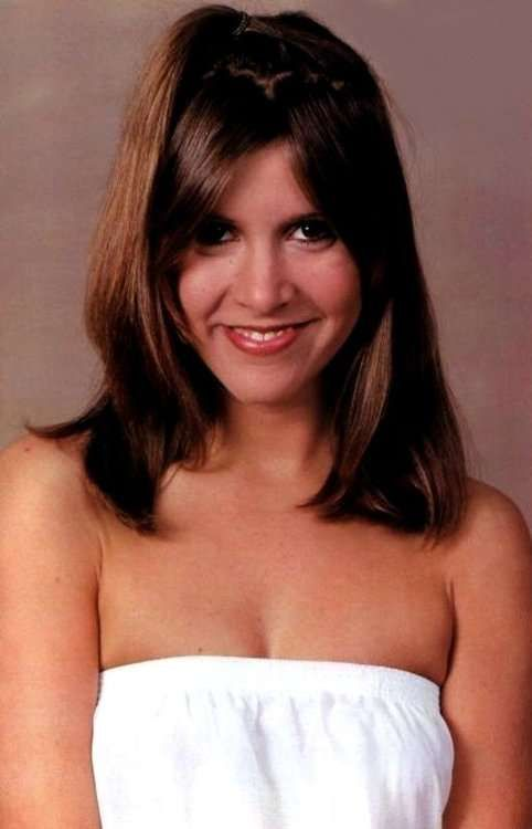 Young Carrie Fisher in Lowcut White Dress