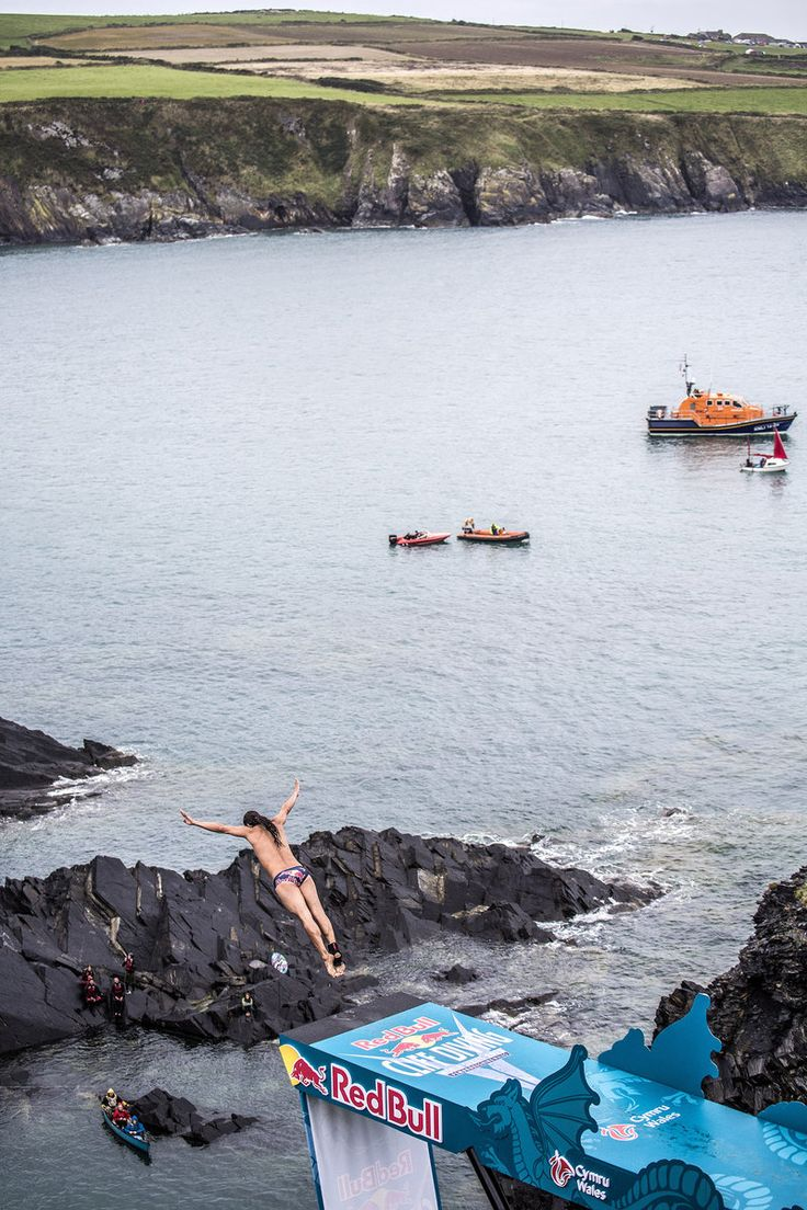 Red Bull Cliff Diving competition situated on the Pembrokeshire coastline in the…