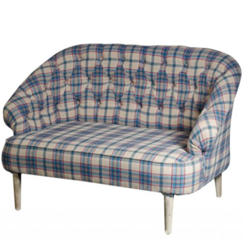 Button Back Sofa - Tartan Upholstery - Allissias Attic  &  Vintage French Style