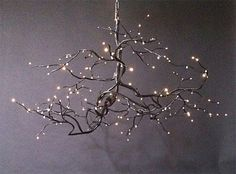 twig chandeliers | FIREFLY BRANCH CHANDELIER w/Fiber Optic Lighting and Sarorski Crystals