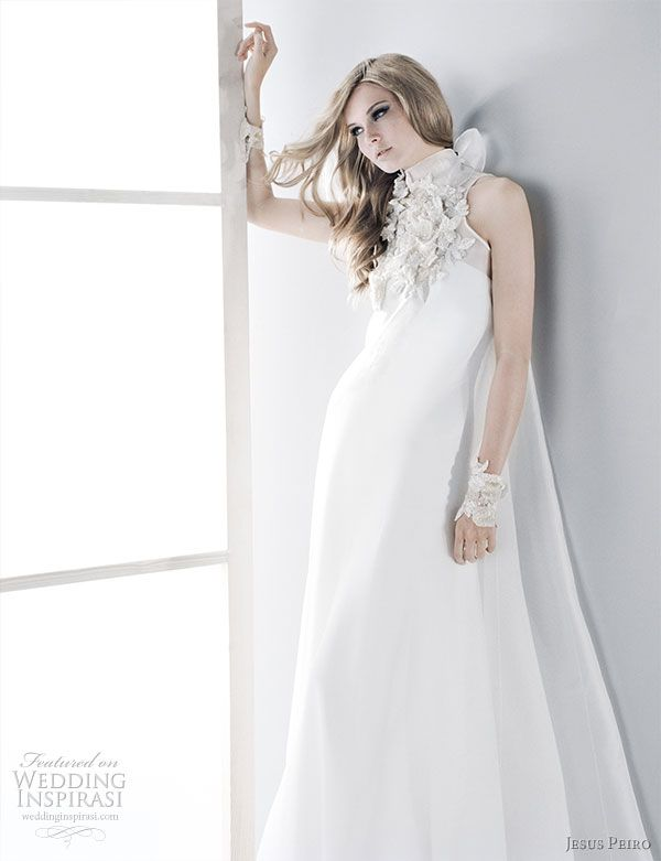 Jesus Peiro 2010 bridal gown collection - beautiful wedding dress with decorated high neck