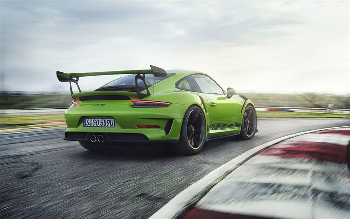 Download Wallpapers Porsche 911 Gt3 Rs 2019 Rear View Green Sports Coupe Racing Track Green 911 Gt3 Tuning German Cars Porsche Besthqwallpapers Com Porsche 911 Gt3 Porsche 911 Porsche
