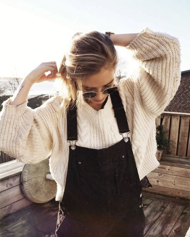 @kamplainnn ❃ fall autumn winter style fashion outfit white sweater black overalls