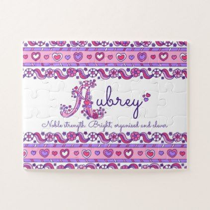 Aubrey name meaning pink purple jigsaw puzzle - monogram gifts unique design style monogrammed diy cyo customize