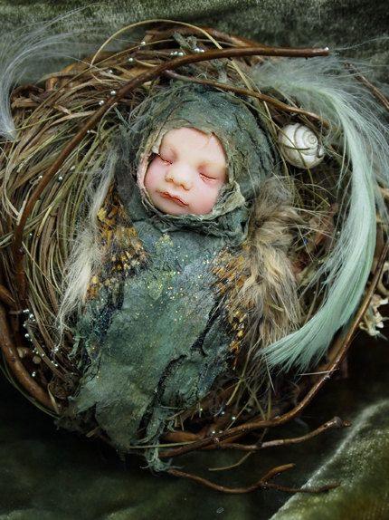 Fairy Baby on Nest Handsculpted OOAK Art Doll ADO by NenufarBlanco