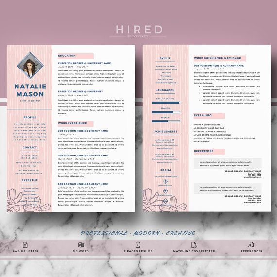 creative resume template for word natalie 100 editable instant digital download - Resume La Science Des Reves