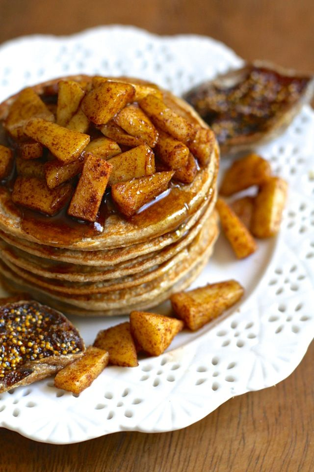 Apple Oat Greek Yogurt Pancakes -- Light, fluffy, and completely irresistible.