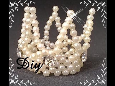 ▶ Mini coroa de pérolas Diy  DIY pearl crown - YouTube